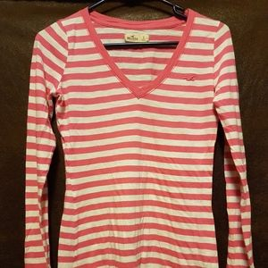 Hollister hot pink striped top